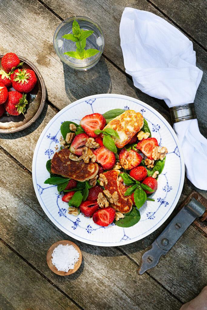Halloumisallad jordgubbar