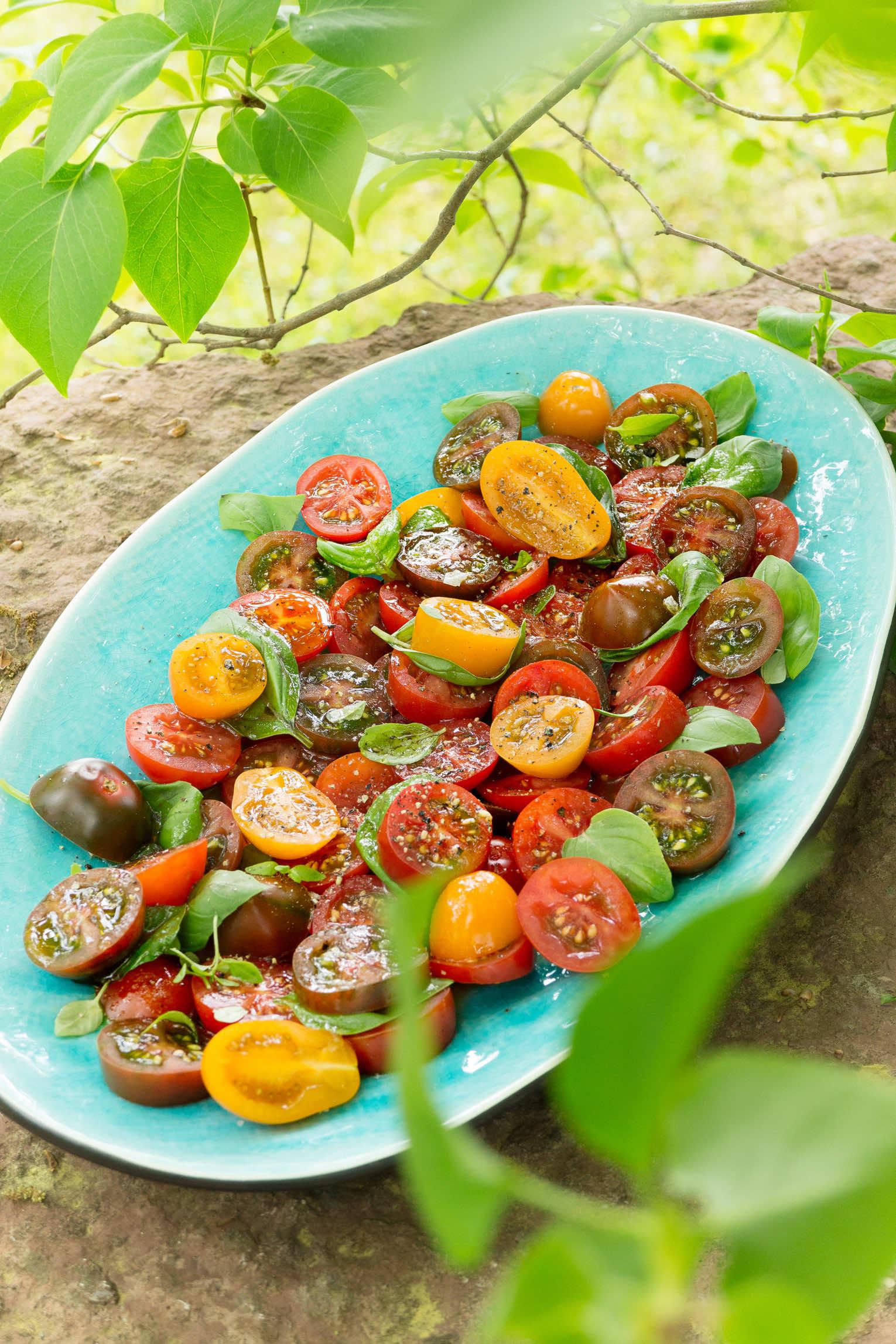 Tomatsallad med basilika, timjan honung